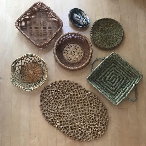 Vintage Other - •vintage• | neutral & green basket set